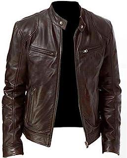 Sunward Coat for Men,Men Vintage Cool Jacket Leather Long Sleeve Autumn Winter Stand Collar Club Coat