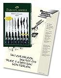 Faber-Castell 167137 - Tuschestift Pitt Artist Pen, 8er Kunststoffetui, schwarz (1, 8er Etui + Skizzenblock)