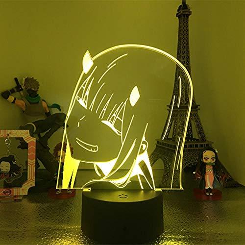 DARLING in the FRANXX 02 Zero Two Anime 3D night light con telecomando 16 colori LED lampada da scrivania touch light regalo di Natale vestito da cameretta per bambini