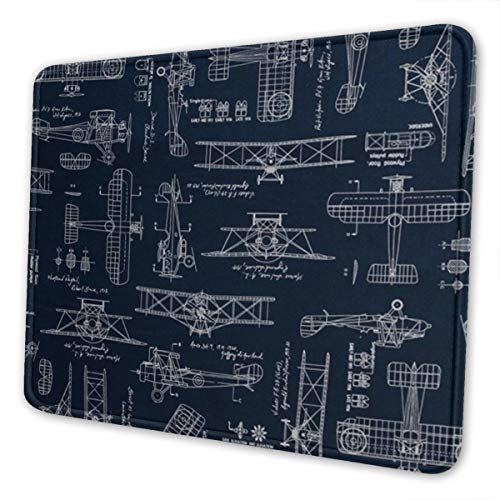 Mouse Pad Aviation Aviators Transportation Blue Gaming Mousepad with Stitched Edges Non-Slip Rubber Base for Computers Laptop Office & Home