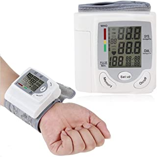 Wrist Blood Pressure Monitor Automatic Blood Pressure Cuff Monitor 90-Reading Memory Ultra Silent Inflation LCD Display Irregular Heartbeat BP and Adjustable Wrist Cuff Perfect for Health Monitoring