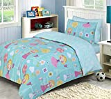 Indus Textiles Kids Girls Bedding Sets - 100% Soft Cotton - Duvet Cover With Fitted Sheet and Pillowcases Matching - Reversible - Paris Girl - Single Complete Set