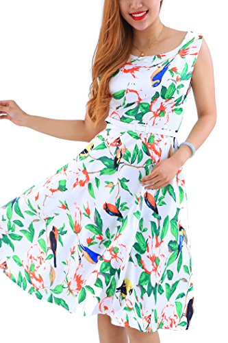 YMING Damen Midikleid Elegantes Cocktailkleid Rockabilly Partykleid Vintange Swingkleid Grün Völgel S