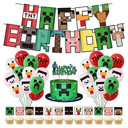 smileh Gaming Party Geburtstagsdekorationen Gamer Luftballons Alles Gute zum Geburtstag Banner Kuchen Topper für Kinder Geburtstagsfeier Deko