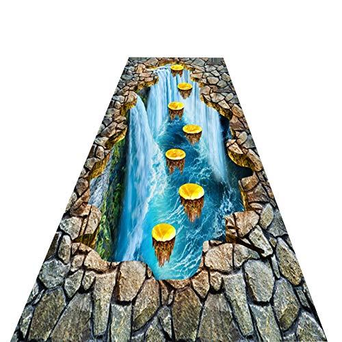 Flur Teppich Läufer Soft Runner Teppiche für Flure, 3D Spannende Lange Teppichmatten rutschfeste Läufer für Innen/Außen/Halle/Küche, Fantasy Wasserfall Muster (Size : 90×150cm (3×5ft))