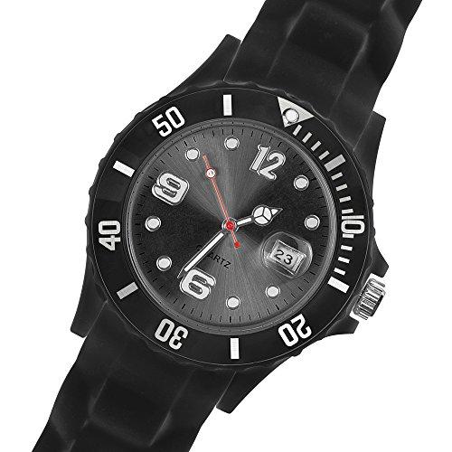 Taffstyle Damen Herren Sportuhr Armbanduhr Silikon Sport Watch Farbiges Ziffernblatt mit Datum Analog Quarz Uhr Schwarz Schwarz