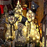 PUYEI Figura decorativa con iluminación LED, muñeco de nieve, muñeco de nieve, mantiene cajas de regalo de doble capa, decoración para fiestas