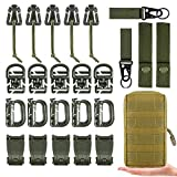 MWZTECH Kit of 25 Attachments for Molle Backpack, Tactical Molle Dominators Webbing Accessories kit,D-Ring Grimloc Locking Gear Clip,Web Molle Elastic Strings