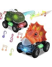 2 Paquetes De Coches De Juguete De Dinosaurio con Luces Intermitentes De 3 Colores, Efectos De Sonido De Rugido De Dinosaurio, Dirección Automática 360, Regalo De Juguete