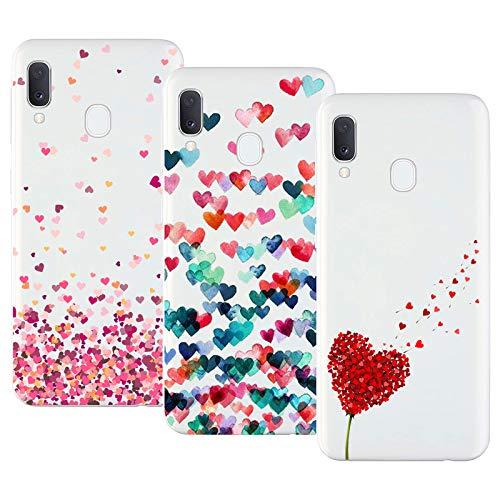 Young Ming Cover Compatibile With Samsung Galaxy A20e, 3 Pack Morbido Trasparente Silicone Custodie Protettivo TPU Gel Case, Amore
