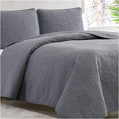 Mellanni Bedspread Coverlet Set Charcoal - Comforter Bedding Cover - Oversized 3-Piece Quilt Set (King/Cal King, Gray)