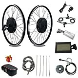 RICETOO 48V 1500W 20'/24'/26'/27.5'/28'/700C Front Wheel Electric Bicycle Conversion Motor Kit with Brushless Gear Hub Motor with KT-LCD3 Display. (48V 20 inch)