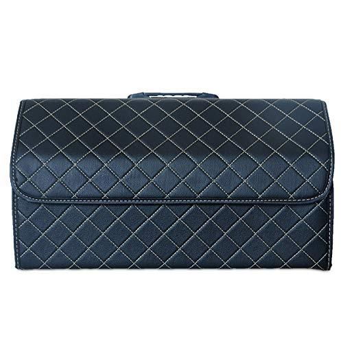Ergocar Kofferraum Organizer Luxus-PU-Leder Aufbewahrungstasche Organizer Wasserdicht Faltbar Kofferraum-Tasche für Auto/LKW/SUV (Schwarz-L)