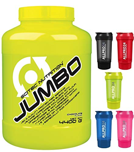 Scitec Nutrition Jumbo SCHOKOLADE 4400g Weight Gainer Shake mit Protein und Kreatin, Schoko, Muskelaufbau, Masseaufbau inkl. 1 Allpro24 Shaker.