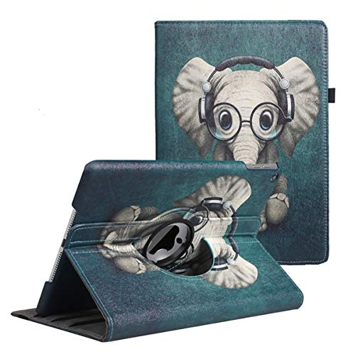 New iPad 7th Generation Tablet Case (10.2-inch,2019 Releases), 360 Degree Rotating Multi-Angle Viewing Folio Stand Cases with Pencil Holder for iPad 10.2 7th Gen (Elephant)