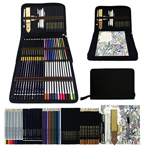 Bosquejo Lápices de Dibujo del Artístico Profesional,Set de Lápices de Colores–Juego de 70 lápices metálicos,acuarela,dibujo,carbón,para colorear libros–Conjunto Ideal para Artistas,Adultos y Niños