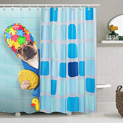 French Bulldog with Yellow Duck Shower Curtain for Kids Cartoon Animal Shower Curtains for Bathroom Accessories 3D Printing Hilarious Pets Playing Water Design Bath Decor 72x72 Inch with 12 Hooks