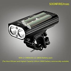 soonfire FD38S - Faro para bicicleta recargable por USB, dos LED Cree XM-L2 de 1870 lúmenes, resistente al agua, muy brillante, fácil de montar y desmontar