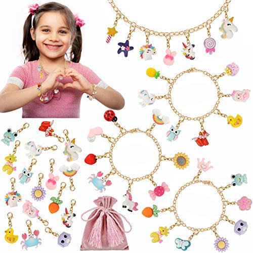 PHOGARY Kit de Pulsera y Collar para Niñas, Colgantes de Frutas Animales de Unicornio con Cadenas de Oro, Bolsa Rosa - kit de fabricación de joyas lindas para niños, regalo de bricolaje