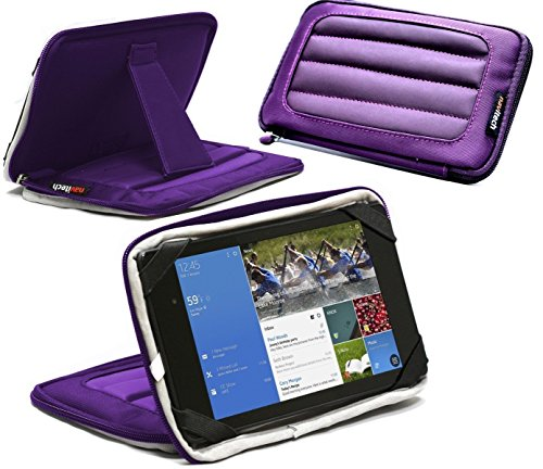 Navitech lila 7 Zoll Neopren Fall Abdeckung Hülse mit Standplatz für die ODYS Rapid 7 LTE 16GB 3G 4G
