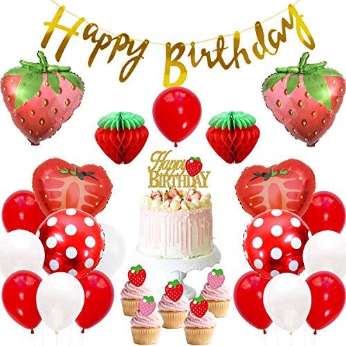 JOYMEMO Juego de decoración de Fiesta de cumpleaños con Tema de Fresa para niñas, Bola de Panal de Papel, Globos de Papel de Banner de Feliz cumpleaños, Adornos de Pastel