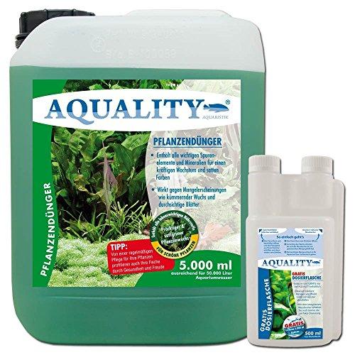 AQUALITY Aquarium Pflanzendünger (GRATIS Versand in DE - Lebenswichtige Spurenelemente, Mineralien, prächtige, satte Pflanzen im Aquarium. Dünger gegen Mangelerscheinungen), Inhalt:5 Liter