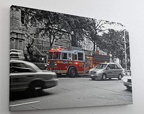 Feuerwehr Feuerwehrwagen Leinwand Bild Wandbild Kunstdruck L1183 Größe 70 cm x 50 cm