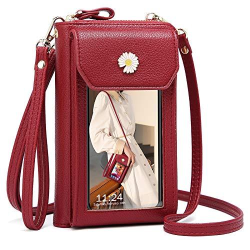 Bolso de Teléfono Móvil con Pantalla Táctil para Mujer, Crossbody Bolso de Móvil para Guardar hasta 6,5' Bolso Monedero Cuero PU Pequeño con 2 Correa de Hombro Desmontable,Rojo