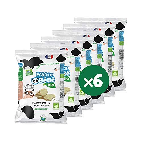 FRANCE BéBé BIO - Mini Galette de Riz Biscuits Bio - Nappée Yaourt - Sans Gluten - Pour Bébé dès 7 mois - Lot 6 sachets de 84g