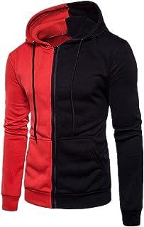 Men's Hoodie Sweat Jacket Slim Fit Patchwork Top Winter Casual Long Sleeve with Pocket Drawstring Zipper Blouse Sweatshirt...