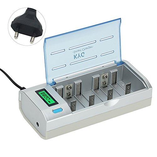 Caricabatterie per Pile Ricaricabili Stilo AA/AAA/D/C/9V Display LCD Retroilluminato Caricatore Batterie Ni-Cd Ni-MH 6 Slot Universale batterie