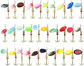 30PCS Fishing Lures Kit Set Spinnerbait for Bass Trout Walleye Salmon Assorted Metal Hard Lures Inline Spinner Baits
