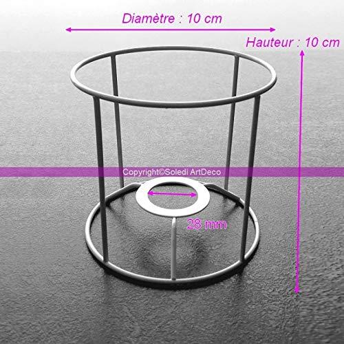 Lealoo klein frame rond wit voor lampenkap, hoogte en diameter 10 cm, voor fitting E14, 28 mm