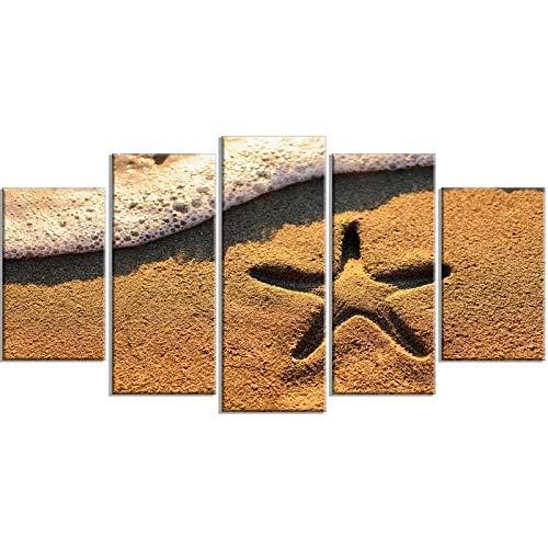 GHYTR Playa, Estrella, Hermoso, Verano Cuadro sobre Impresión Lienzo 5 Piezas Marco 150X80Cm HD Arte De Pared Modulares Sala De Estar Dormitorios Decoración para El Hogar Póster Regalo