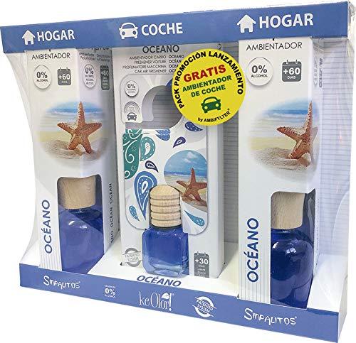 AMBIFYLTER® Pack Premium - 2 Ambientadores Hogar + 1 Ambientador de Coche Gratis OCÉANO