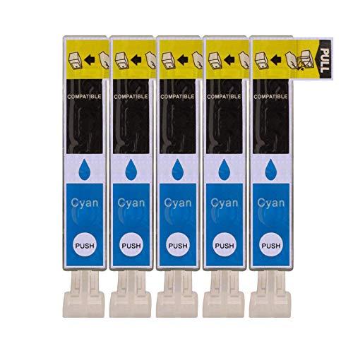 5 Druckerpatronen kompatibel zu CLI-526C Cyan für Canon Pixma IP4850 IP4950 IX6550 MG5150 MG5250 MG5300 MG5350 MG6150 MG6250 MG8150 MG8250 MX715 MX885