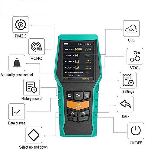 Luftverschmutzung messgerät Detektor mit farbigem LCD-Bildschirm,Formaldehyd Messgerät Luftqualität Messgerät,für VOC/ PM2.5/PM1.0/PM10