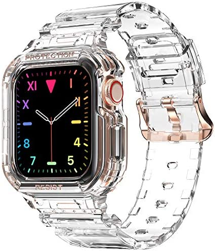 Compatible for Apple Watch Clear Band 40mm 38mm with Case amBand Women Cute Girl Crystal Clear product image