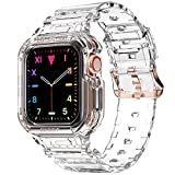 Compatible for Apple Watch Clear Band 40mm 38mm with Case, amBand Women Cute Girl Crystal Clear Jelly Protective Case with Bands for Apple Series 3 Watch Band and iWatch 6 5 4 3 2 1 Transparent