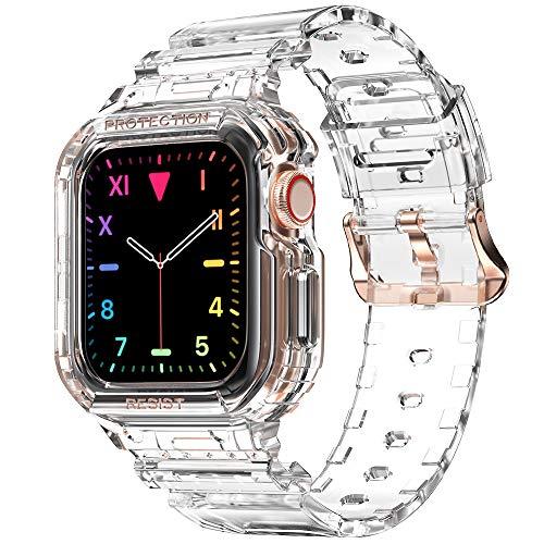 amBand Bracelet Compatible Apple Watch 40mm 38mm,Support Montre de Protection Accessoire,Sport Bracelet de Remplacement avec Coque Compatible avec iWatch Series 6 Se 5 4 3 2 1- Clear