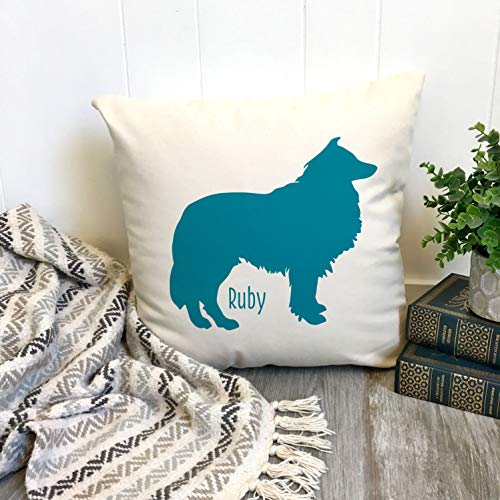 DKISEE Custom Collie Throw Pillow Cover, Dog Silhouette with Name Pillow Case, Cotton Linen Square Decorative Pillow Cover, Home Sofa Decor, 26x26 Inch