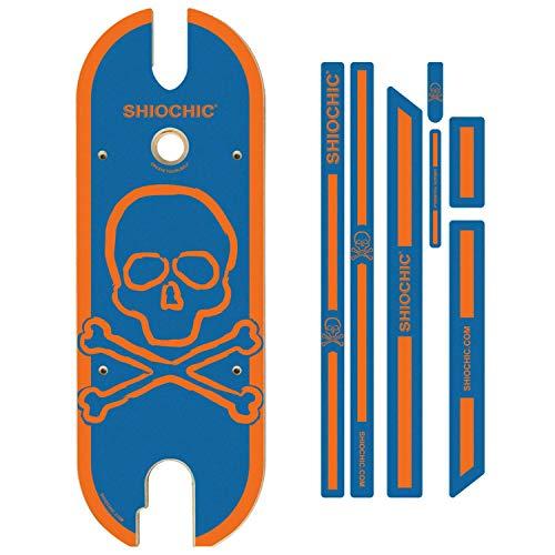 SHIOCHIC - Tabla con Pegatinas - Accesorio Patinete Eléctrico Xiaomi 365 y 1S - Medidas: 63 x 23.8 x 0.9 cm - Navy Skull - Personaliza tu Patinete - Permite Apoyar los Pies en Paralelo