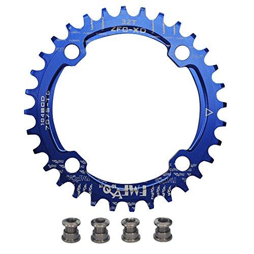 UPANBIKE Bike Schmal Breit Kettenblatt 104 BCD Runde Form Single Kettenblätter 32T(Blau)