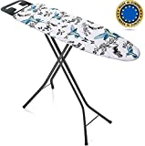 Bartnelli Rorets Ironing Board Made in Europe | Iron Board with Cover Pad, Height Adjustable, Safety Iron Rest, Safety Storage Lock, 4 Leg, 3 Layer Pad, Home Laundry Room or Dorm Use (44 x 14 H.36)