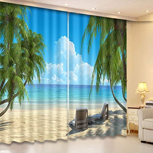 Cortinas Opacas - Impresión 3D Tumbona De Cocotero De Playa - Cortinas con Ojales - Reducción De Ruido De Aislamiento, 150(H) X125(An) Cmx2 Paneles/Set
