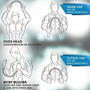 BOA Heavy Duty Power Twister Spring Forearm Blaster Bar, 30-55 KG Chest Exerciser for Men Bicep Shoulder Arm Builder Bicep Blaster 65-120 LBS