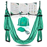 YOGA SWING PRO Premium Aerial Yoga Hammock Trapeze Kit - Antigravity Acrobat Flying Sling Set for Inversion Therapy (Turquoise)