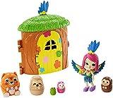 Enchantimals Peeki Parrot y Casa del árbol Muñeca con mascota matrioska sorpresa y casa de juguete (...