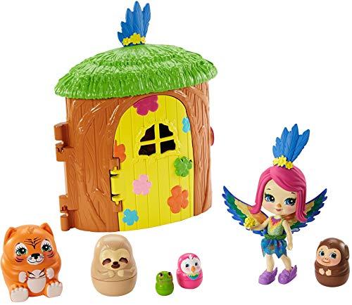 Enchantimals Peeki Parrot y Casa del árbol Muñeca con mascota matrioska sorpresa y casa de juguete (Mattel GTM49)