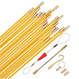 25 Feet Fiberglass Cable Wire Running Rod Coaxial Electrical Connectable Fish Tape Pull Kit with Hook And Hole Kit In Transparent Tube